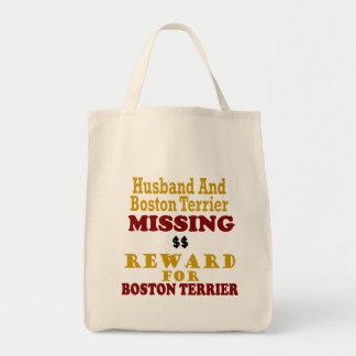 Boston Terrier y recompensa que falta del marido p Bolsa