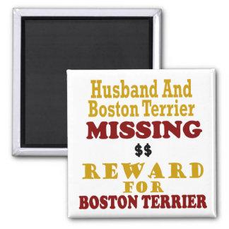 Boston Terrier y recompensa que falta del marido p Imán Cuadrado