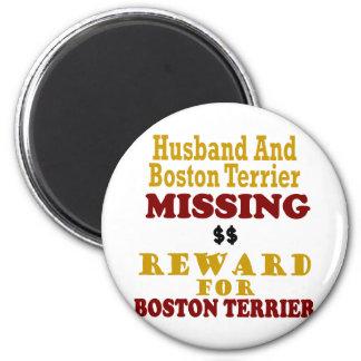 Boston Terrier y recompensa que falta del marido p Imán Redondo 5 Cm