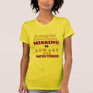 Boston Terrier y recompensa que falta del marido Remera