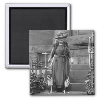 Boston Terriers & 1920s Fashion 2 Inch Square Magnet