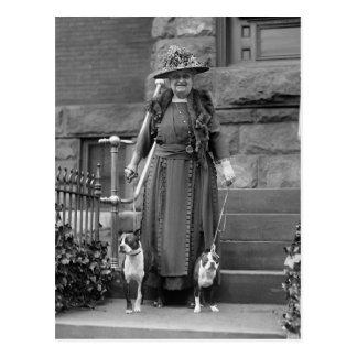 Boston Terriers & 1920s Fashion Postcard