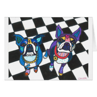 Boston Terriers by Heather Galler Card