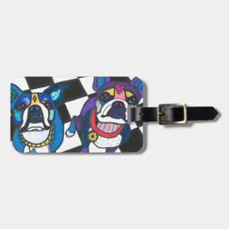 Boston Terriers by Heather Galler Tag For Luggage