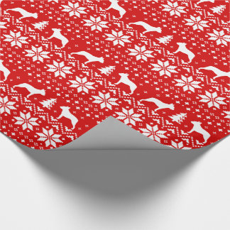Boston Terriers Christmas Sweater Pattern Red Wrapping Paper