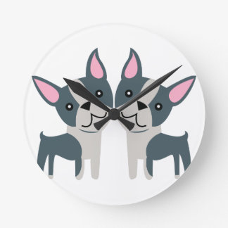 Boston Terriers Round Wall Clocks