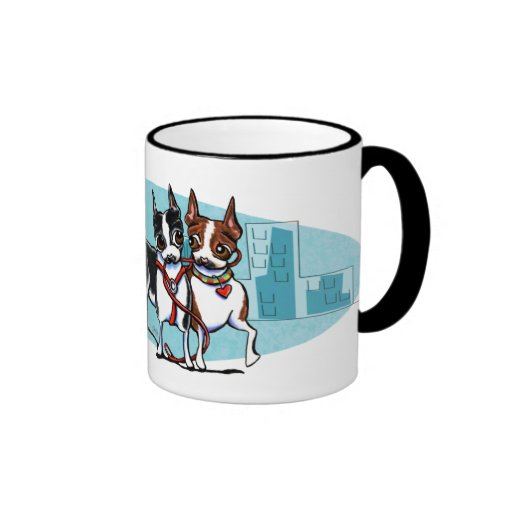 Boston Terriers in the City Ringer Coffee Mug