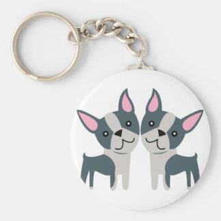 Boston Terriers Basic Round Button Keychain