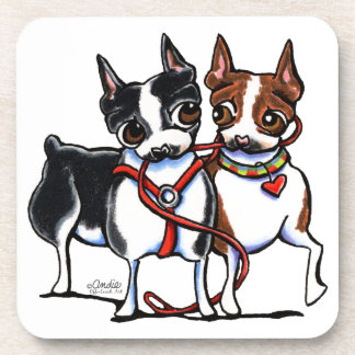 Boston Terriers Leashed Beverage Coaster