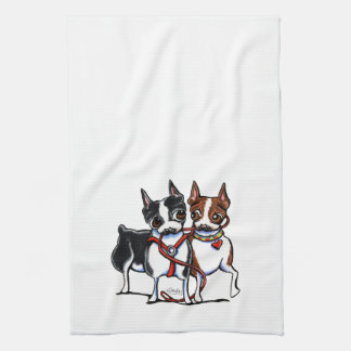 Boston Terriers Leashed Hand Towel