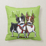 Boston Terriers Leashed Pillow
