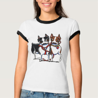 Boston Terriers Leashed T-Shirt