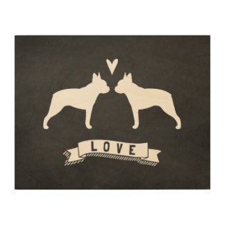 Boston Terriers Love - Dog Silhouettes with Heart Wood Print