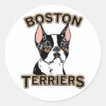 Boston Terriers Mascot Round Stickers