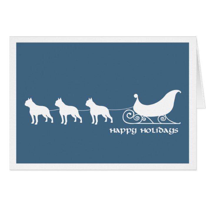 Boston Terriers Pulling Santa's Sleigh Card