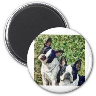 Boston Terriers - Skipper & Dee Dee 2 Inch Round Magnet