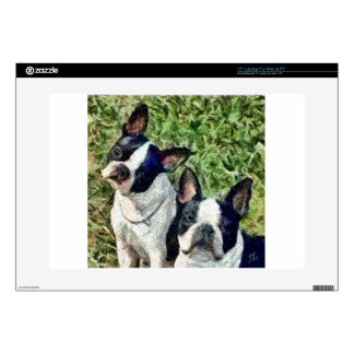 Boston Terriers - Skipper & Dee Dee Decal For Laptop
