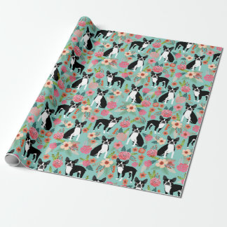 Boston Terriers spring flowers gift wrap
