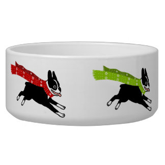 Boston Terriers Wearing Colored Scarves Dog Bowl