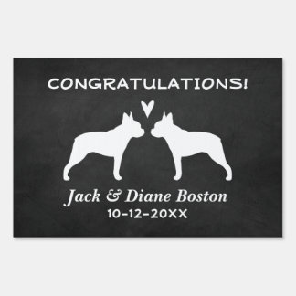 Boston Terriers Wedding Couple Congratulations Lawn Sign