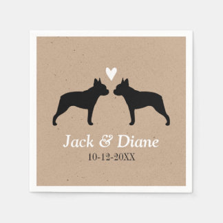 Boston Terriers Wedding Couple with Custom Text Paper Napkin