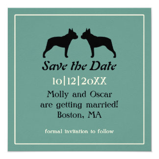 Boston Terriers Wedding Save the Date Invitation