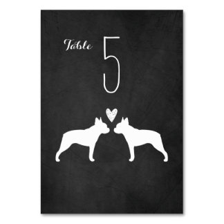 Boston Terriers Wedding Table Card