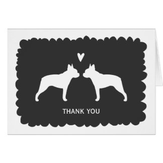 Boston Terriers Wedding Thank You Greeting Cards