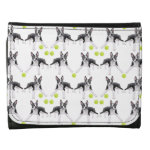 Boston Terriers with Tennis Balls Leather Wallet