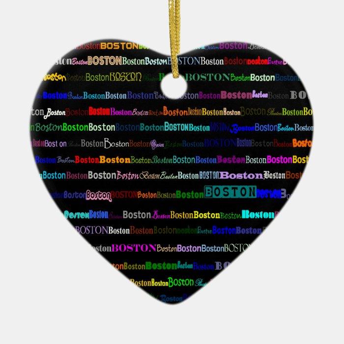 Boston Text Design I Heart Ornament