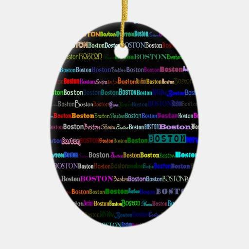Boston Text Design I Oval Ornament