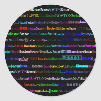 Boston Text Design I Round Sticker