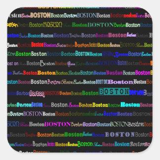 Boston Text Design I Square Sticker