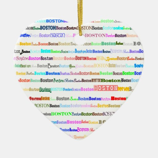 Boston Text Design II Heart Ornament