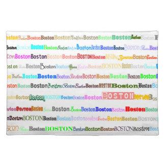 Boston Text Design II Placemat Cloth Place Mat
