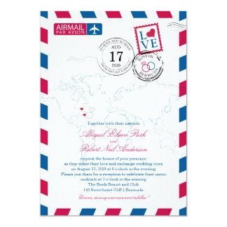Boston to Bermuda Wedding Airmail Card