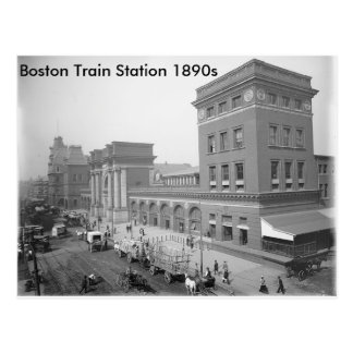 """Boston Train Station 1890s"" Postcard"