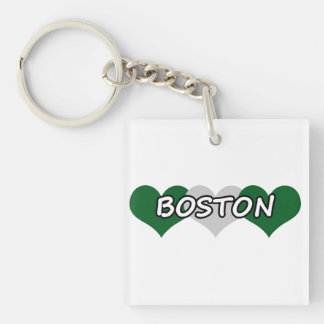 Boston Triple Hearts Keychain