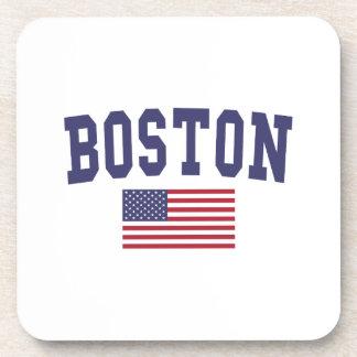 Boston US Flag Beverage Coaster