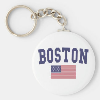 Boston US Flag Keychain