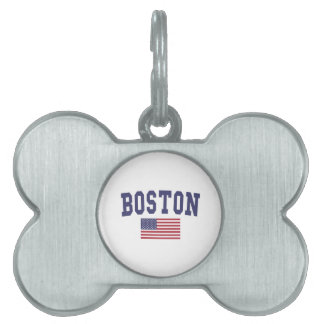 Boston US Flag Pet Tag