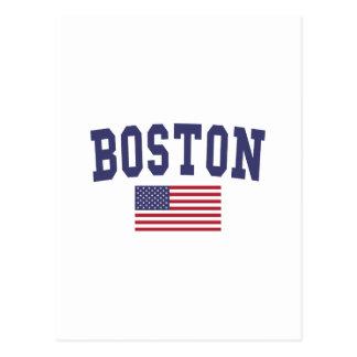 Boston US Flag Postcard