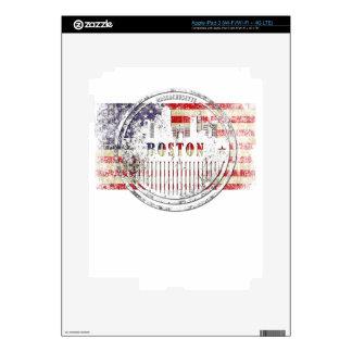 Boston-USA-Flag skyline iPad 3 Decal