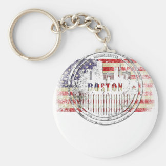 Boston-USA-Flag skyline Keychain