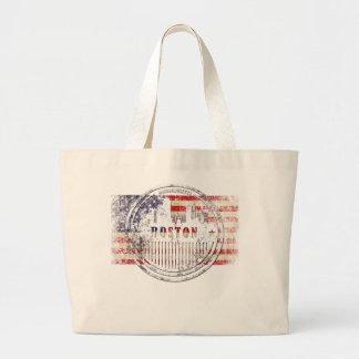 Boston-USA-Flag skyline Large Tote Bag