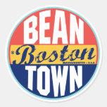 Boston Vintage Label Round Sticker