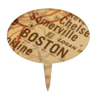 BOSTON Vintage Map Cake Pick