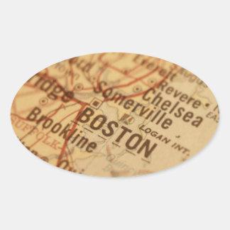BOSTON Vintage Map Oval Sticker