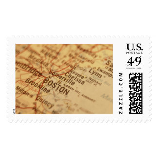 BOSTON Vintage Map Postage