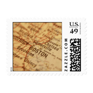 BOSTON Vintage Map Postage Stamps (Small)